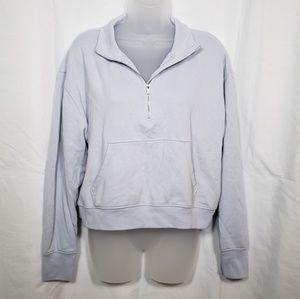 Aerie Pale Blue Zipper Popover Sweatshirt